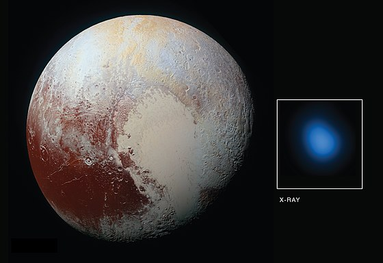 Image of Pluto in X-rays by Chandra X-ray Observatory (blue spot). The X-rays are probably created by interaction of the gases surrounding Pluto with solar wind, although details of their origin are not clear. PIA21061-Pluto-DwarfPlanet-XRays-20160914.jpg