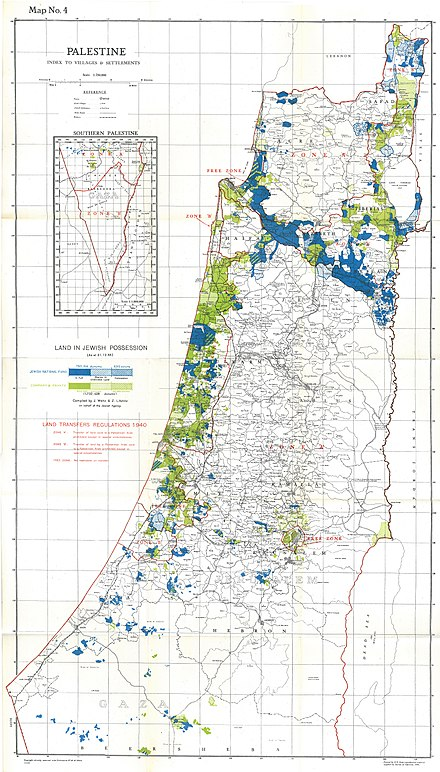Map showing Jewish-owned land as of 31 December 1944, including land owned in full, shared in undivided land and State Lands under concession. This constituted 6% of the total land area or 20% of cultivative land, of which more than half was held by the JNF and PICA Palestine Index to Villages and Settlements, showing Land in Jewish Possession as at 31.12.44.jpg