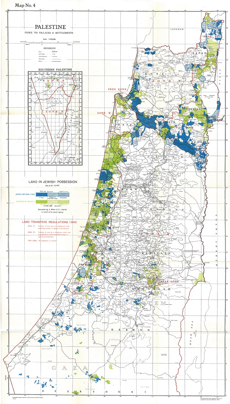 Palestine Index to Villages and Settlements, showing Land in Jewish Possession as at 31.12.44