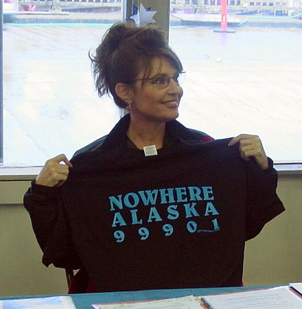 Palin while visiting Ketchikan during her gubernatorial campaign in 2006 Palin nowhere.jpg