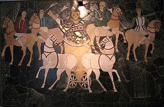Junius Annius Bassus - Junius Bassus in a chariot, opus sectile panel from the basilica of Junius Bassus on the Esquiline Hill
