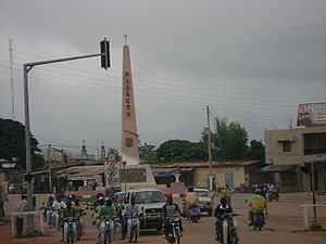 Parakou - Central Parakou with the tall pink column