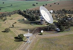 The 64 meter radio telescope at Parkes Observatory