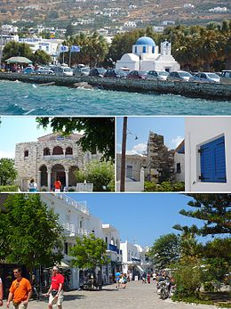 Frae tap left: Parikia, Panagia Ekatontapiliani, the Frankish Castle an a teepical Paros street