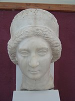 A bust from The National Museum of Iran of Queen Musa, wife of Phraates IV of Parthia.