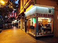 Pellegrini's Expresso Bar in Melbourne at dusk