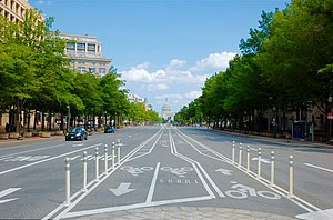 History of cycling infrastructure - Center lanes on Pennsylvania Avenue looking toward the U.S. Capitol