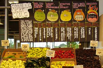 Chili pepper - A display of hot peppers and a board explaining the Scoville scale at a Houston, Texas, grocery store