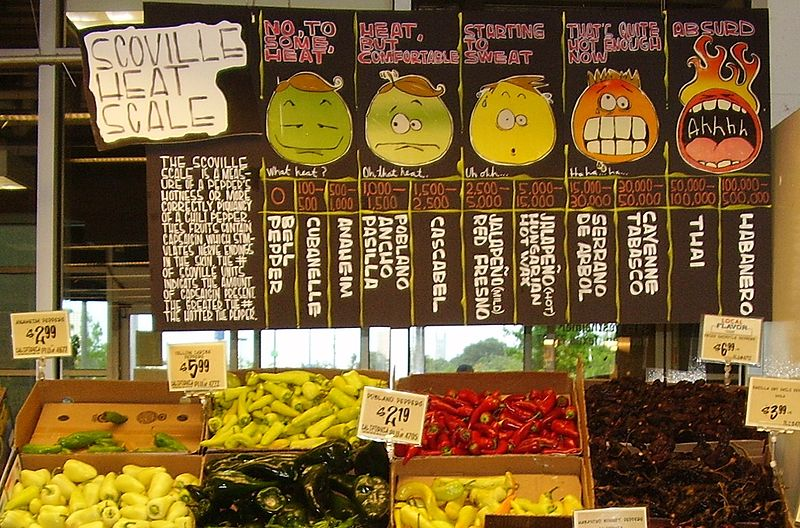A display of hot peppers and a board explaining the Scoville scale at the HEB Central Market location in Houston, Texas