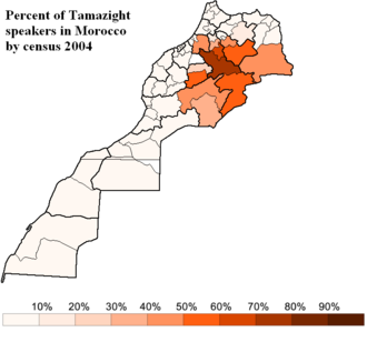 Central Atlas Tamazight - Image: Percent of Tamazight speakers in Morocco by census 2004