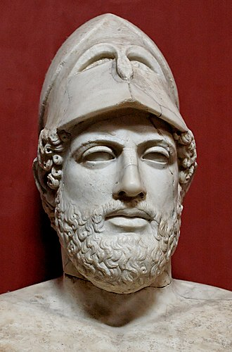 "Pericles - Bust of Pericles bearing the inscription ""Pericles, son of Xanthippus, Athenian"". Marble, Roman copy after a Greek original from c. 430 BC, Museo Pio-Clementino, Vatican Museums,"