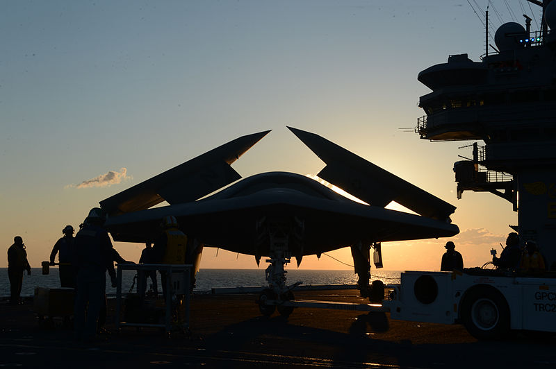 File:Personnel tow a U.S. Navy X-47B Unmanned Combat Air System demonstrator aircraft on the flight deck of the aircraft carrier USS George H.W. Bush (CVN 77) May 14, 2013, in the Atlantic Ocean 130514-N-FU443-115.jpg