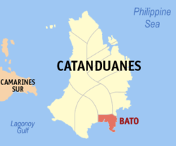 Map of Catanduanes with Bato highlighted