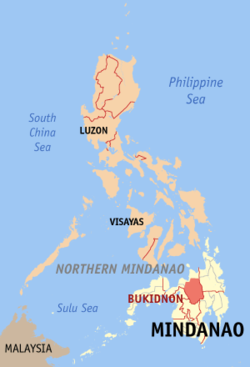 Map of the Philippines with Bukidnon highlighted