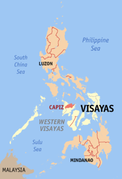Map of the Philippines with Capiz highlighted