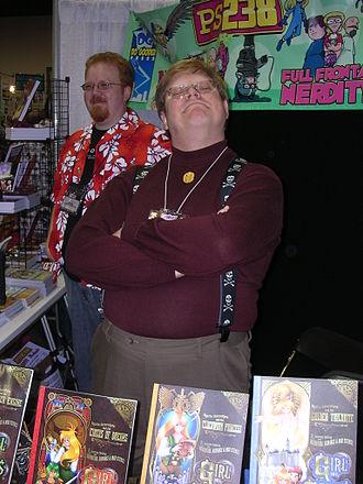 Phil Foglio - Foglio at Gen Con Indy 2007 (Aaron Williams in the background)
