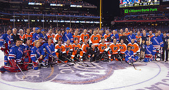 fe0498c4b6eff5 The Flyers and Rangers alumni gathered for a combined team picture after  the game.