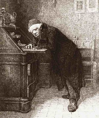 Miser - A detail from L'Avaro, a print by Antonio Piccinni (1878)