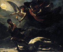 darkly shaded painting of two winged angels chasing a man who runs away from a fallen, naked man attacked and subdued for his clothing