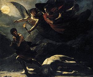darkly shaded painting of two winged angels chasing man who runs away from a fallen, naked body