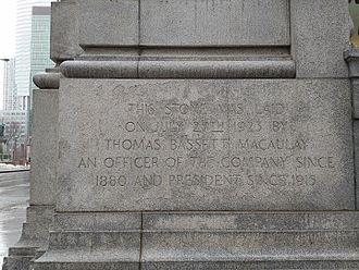 Thomas Bassett Macaulay - Commemorative corner stone of the Sun Life building.