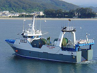 Bottom trawling - A bottom trawler at Viveiro in Spain