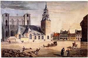 Place d'Armes - The square in 1828; the old church and new church in background.