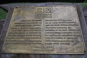 El Tajín - World Heritage Site plaque