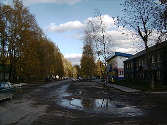 Plesetsk - The corner of Partizanskaya and Lenina Streets; to the right is the Administration building