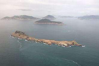 Po Toi Islands - Aerial view of Waglan Island (foreground), Po Toi (left), Lo Chau and Sung Kong from the east