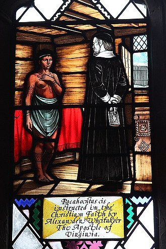 Alexander Whitaker - Whitaker and Pocahontas, on a church window in the United Kingdom
