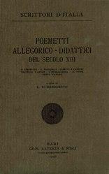 Poemetti allegorico-didattici del secolo XIII