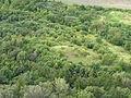 Pohled z Hazmburku, keře a stromy pod kopcem.JPG