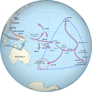 One set of arrows point from Taiwan to Melanesia to Fiji/Samoa and then to the Marquesas Islands. The population then spread, some going south to New Zealand and others going north to Hawai'i. A second set start in southern Asia and end in Melanesia.