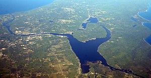 Keweenaw Waterway - Keweenaw Waterway with Portage Lake in center, 2010. Photo by Doc Searles