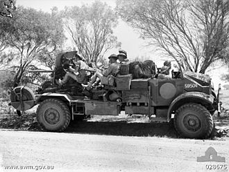 Portee - An Australian Army 2 pounder portee during an exercise in 1942