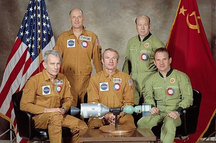 Soviet and American crews with spacecraft model, 1975. Portrait of ASTP crews - restoration-crop.jpg
