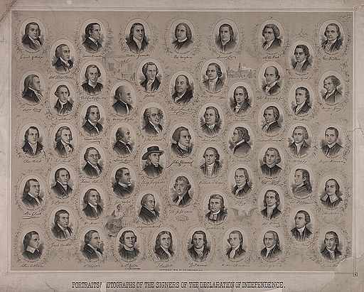 Portraits & autographs of the signers of the Declaration of Independence (USA)