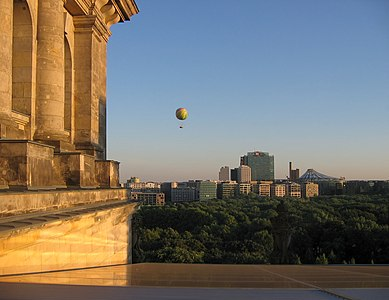 View from the Reichstag roof over the Tiergarten to the buildings around Potsdamer Platz in Berlin