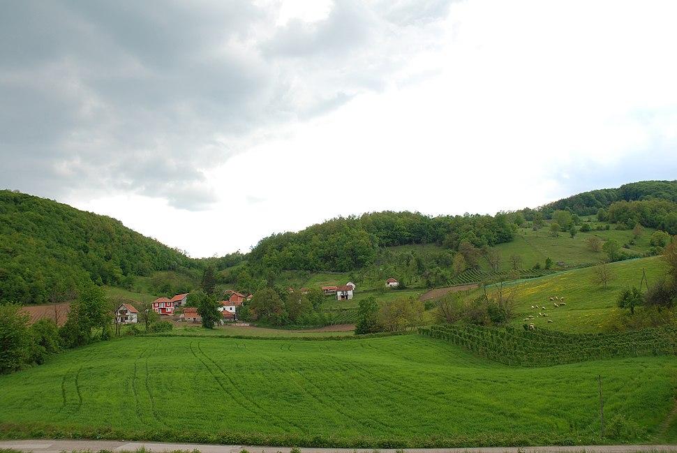 Povlen - zapadna Srbija - istočni obronci planine - selo Brezovice - Pogled ka mestu Cerik 2