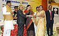Pranab Mukherjee presenting the National Award for Teachers-2014 to Smt. Kumari Nirmala Sharma, Bihar, on the occasion of the 'Teachers Day', in New Delhi. The Union Minister for Human Resource Development.jpg