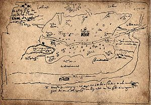 Timeline of Bogotá - Map of Santafé, by cacique Turmequé 1572