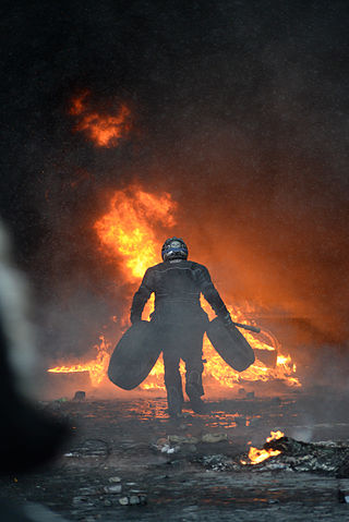 Protester bringing tires to the fire set by the protesters to prevent internal forces from crossing the barricade line. Kyiv, Ukraine. Jan 22, 2014.jpg