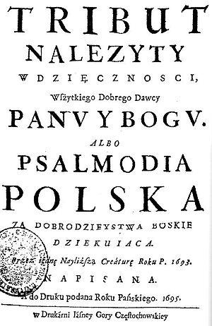 Wespazjan Kochowski - The first page of Psalmodia polska