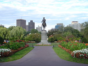 Public Garden (Boston) - The Public Garden looking east from the Arlington Street entrance, with the skyline of Boston's financial district, 2007