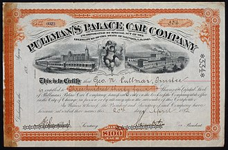 George Pullman - Share of the Pullman's Palace Car Company, issued 20. April 1892, made out to George M. Pullman