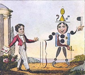 "John Harris (publisher) - Hand-coloured engraved illustration, printed 1824, titled ""Punctuation Personified""."