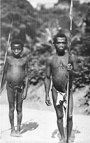 Congo Pygmies - Congolese Pygmy father and son