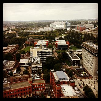 Joseph Chamberlain Memorial Clock Tower - View from the tower, looking west, towards the Queen Elizabeth Hospital