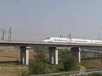 Qinhuangdao–Shenyang high-speed railway - A China Railways CRH5 train on the Qinshen PDL.
